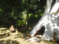 tipi and surroundings